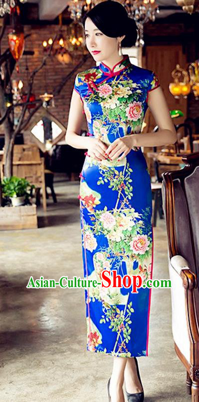 Traditional Chinese Elegant Cheongsam China Tang Suit Printing Peony Blue Qipao Dress for Women