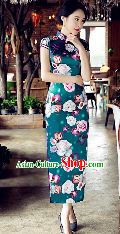 Traditional Chinese Elegant Cheongsam China Tang Suit Printing Rose Green Qipao Dress for Women