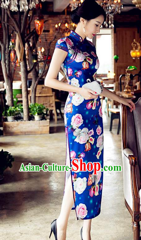 Traditional Chinese Elegant Cheongsam China Tang Suit Printing Rose Blue Qipao Dress for Women
