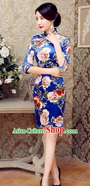 Traditional Chinese Elegant Printing Flowers Blue Short Cheongsam China Tang Suit Qipao Dress for Women