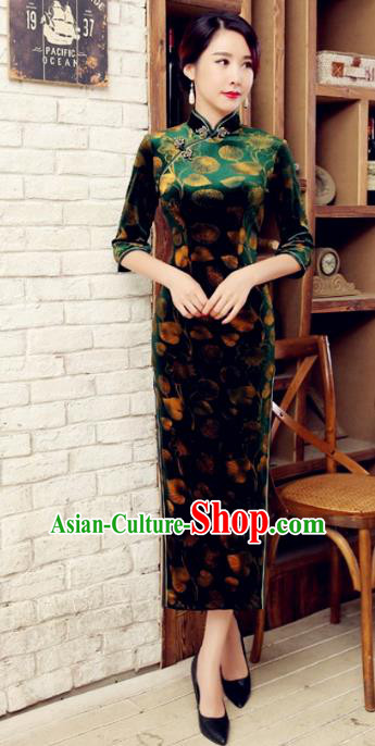 Traditional Chinese Elegant Printing Green Velvet Cheongsam China Tang Suit Qipao Dress for Women