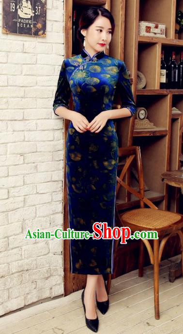 Traditional Chinese Elegant Printing Blue Velvet Cheongsam China Tang Suit Qipao Dress for Women