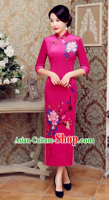 Traditional Chinese Elegant Printing Rosy Velvet Cheongsam China Tang Suit Qipao Dress for Women