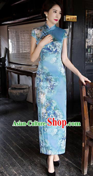 Traditional Chinese Elegant Printing Blue Silk Cheongsam China Tang Suit Qipao Dress for Women