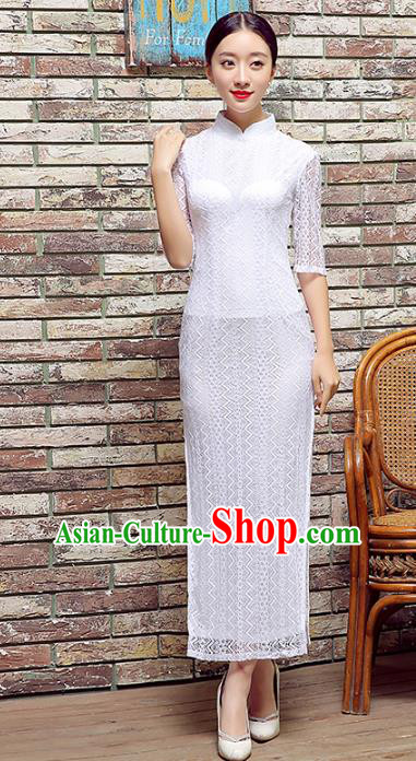 Traditional Chinese Elegant Cheongsam China Tang Suit White Lace Qipao Dress for Women
