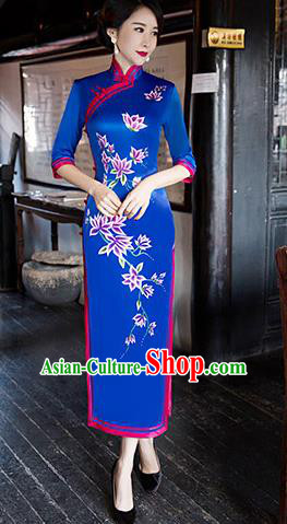 Traditional Chinese Elegant Printing Royalblue Silk Cheongsam China Tang Suit Qipao Dress for Women