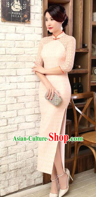 Traditional Chinese Elegant Cheongsam China Tang Suit Pink Lace Qipao Dress for Women