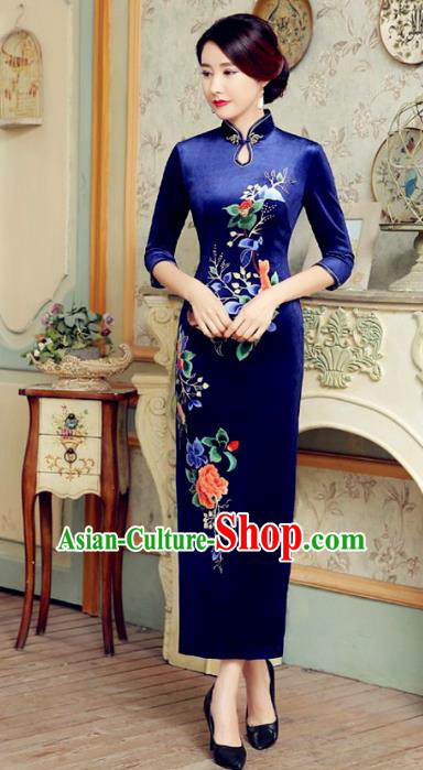 Traditional Chinese Elegant Cheongsam China Tang Suit Printing Peony Blue Velvet Qipao Dress for Women