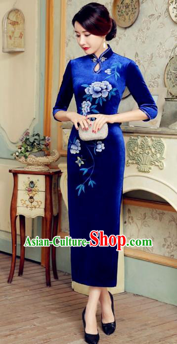 Traditional Chinese Elegant Cheongsam China Tang Suit Printing Flowers Blue Velvet Qipao Dress for Women