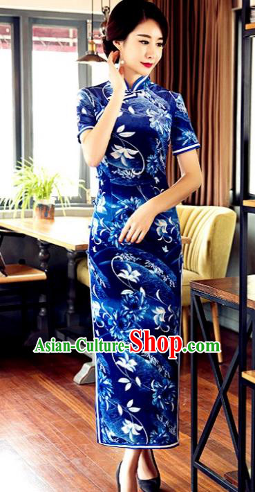 Traditional Chinese Elegant Printing Blue Cheongsam China Tang Suit Qipao Dress for Women