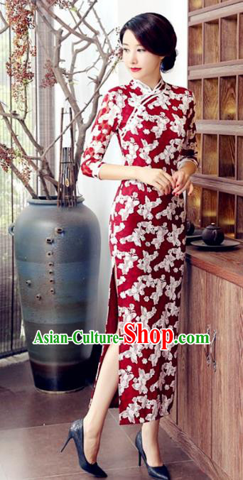 Traditional Chinese Elegant Printing Red Cheongsam China Tang Suit Qipao Dress for Women