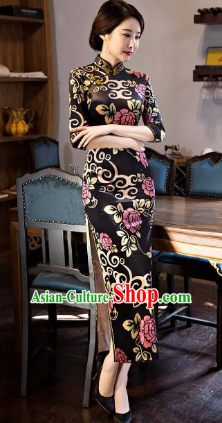 Traditional Chinese Elegant Printing Black Watered Gauze Cheongsam China Tang Suit Qipao Dress for Women