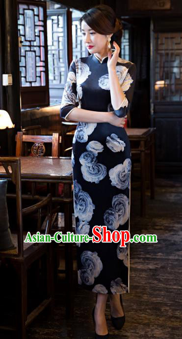 Traditional Chinese Elegant Printing Rose Navy Cheongsam China Tang Suit Qipao Dress for Women