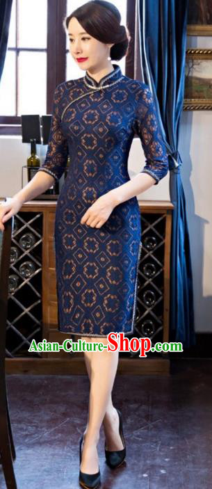 Traditional Chinese Elegant Cheongsam China Tang Suit Navy Lace Qipao Dress for Women