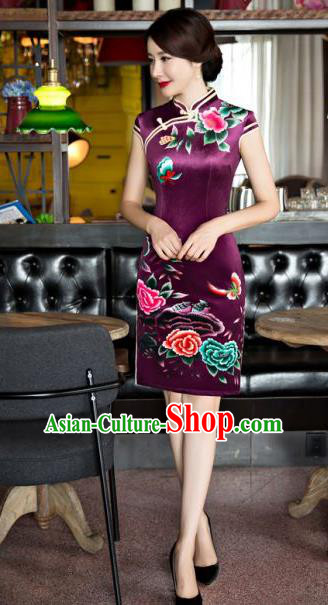 Chinese Traditional Costume Elegant Printing Peony Purple Silk Cheongsam China Tang Suit Qipao Dress for Women