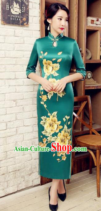 Chinese Traditional Costume Elegant Cheongsam China Tang Suit Printing Flowers Green Velvet Qipao Dress for Women