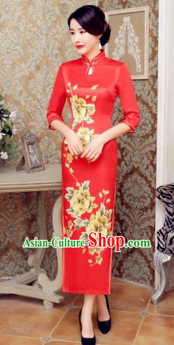 Chinese Traditional Costume Elegant Cheongsam China Tang Suit Printing Flowers Red Velvet Qipao Dress for Women