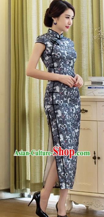 Chinese Traditional Costume Elegant Cheongsam China Tang Suit Printing Grey Qipao Dress for Women