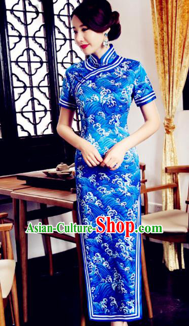 Chinese Traditional Costume Graceful Cheongsam China Tang Suit Printing Blue Qipao Dress for Women
