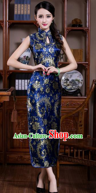 Chinese Traditional Costume Graceful Ombre Flowers Cheongsam China Tang Suit Royalblue Brocade Qipao Dress for Women