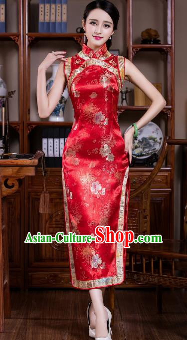 Chinese Traditional Costume Graceful Chrysanthemum Cheongsam China Tang Suit Red Brocade Qipao Dress for Women