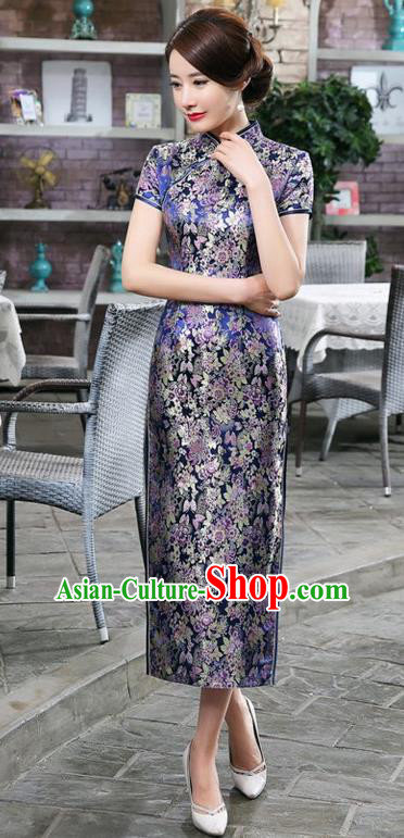 Chinese Traditional Costume Royalblue Brocade Cheongsam China Tang Suit Silk Qipao Dress for Women