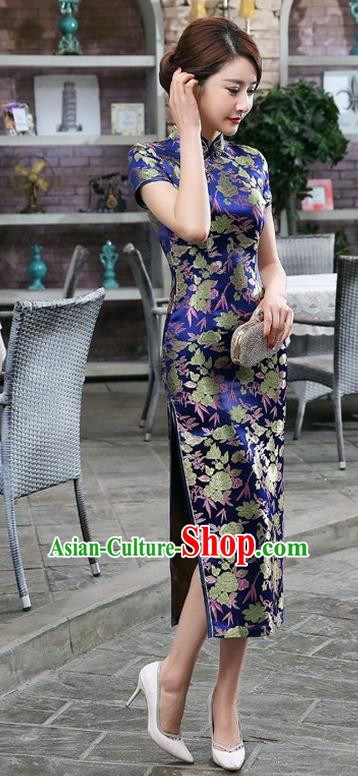Chinese Traditional Costume Cheongsam China Tang Suit Royalblue Brocade Qipao Dress for Women