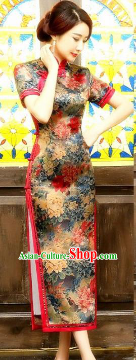 Chinese Traditional Costume Printing Peony Cheongsam China Tang Suit Silk Qipao Dress for Women