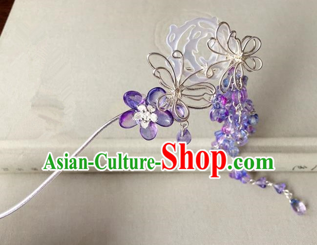 Traditional Handmade Chinese Ancient Classical Hair Accessories Hairpins Purple Flowers Butterfly Hair Clip for Women