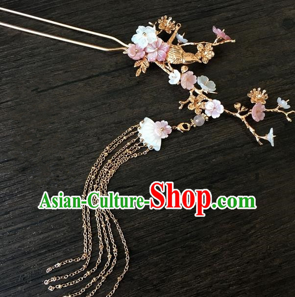 Traditional Handmade Chinese Ancient Classical Hair Accessories Hairpins Pink Flowers Tassel Hair Clips for Women