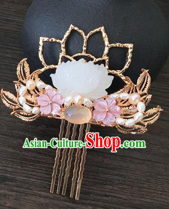 Traditional Handmade Chinese Ancient Classical Hair Accessories Hairpins Jade Lotus Hair Clips for Women