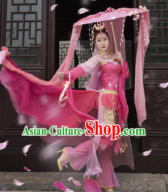 Chinese Ancient Palace Lady Dance Costume Cosplay Female Knight-errant Dress Hanfu Clothing for Women