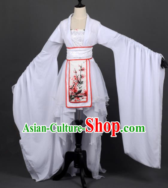 Chinese Ancient Female Knight-errant White Costume Cosplay Swordswoman Dress Hanfu Clothing for Women