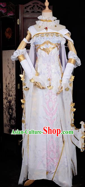 Chinese Ancient Young Lady Swordswoman Costume Cosplay Princess White Dress Hanfu Clothing for Women