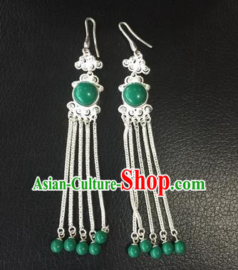 Chinese Traditional Zang Nationality Green Earrings Accessories, China Tibetan Ethnic Silver Eardrop for Women