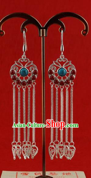 Chinese Traditional Zang Nationality Tassel Earrings Accessories, China Tibetan Ethnic Silver Eardrop for Women
