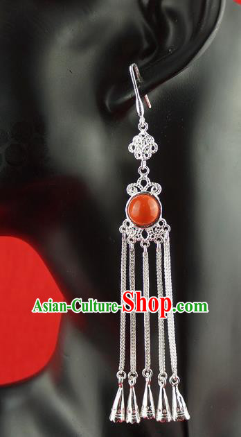 Chinese Traditional Zang Nationality Silver Earrings Accessories, China Tibetan Ethnic Eardrop for Women