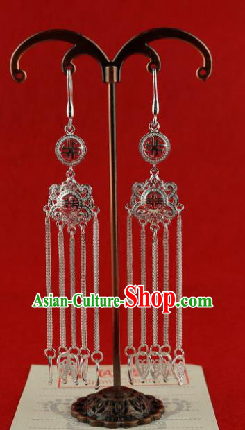 Chinese Traditional Zang Nationality Silver Long Tassel Earrings Accessories, China Tibetan Ethnic Eardrop for Women