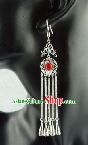 Chinese Traditional Zang Nationality Earrings Accessories, China Tibetan Ethnic Silver Tassel Eardrop for Women