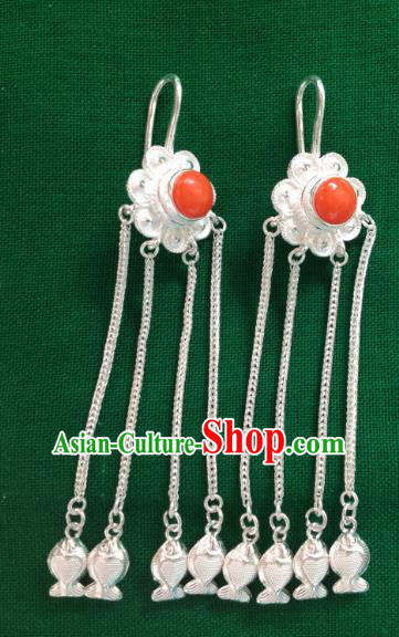 Chinese Traditional Zang Nationality Red Earrings Accessories, China Tibetan Ethnic Silver Tassel Eardrop for Women
