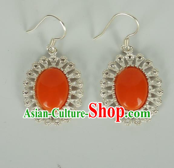 Chinese Traditional Zang Nationality Earrings Jewelry Accessories, China Tibetan Ethnic Silver Crystal Eardrop for Women