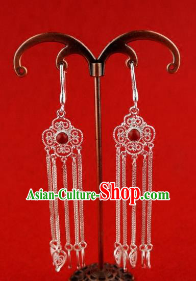 Chinese Traditional Zang Nationality Sliver Earrings Jewelry Accessories, China Tibetan Ethnic Eardrop for Women