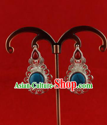 Chinese Traditional Zang Nationality Jewelry Accessories Sliver Tassel Earrings, China Tibetan Ethnic Eardrop for Women