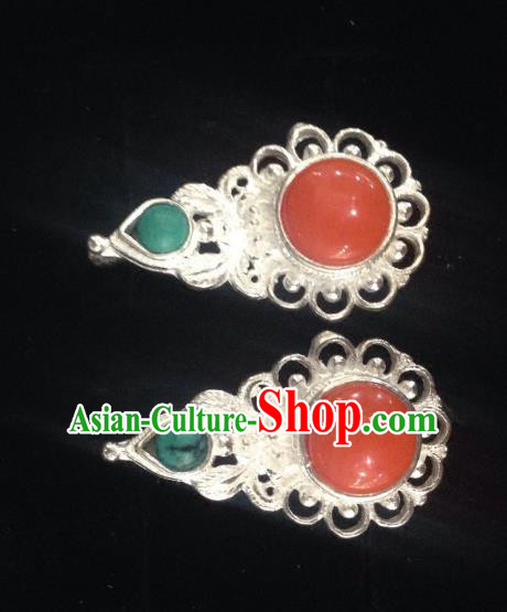 Chinese Traditional Zang Nationality Jewelry Accessories Red Earrings, China Tibetan Ethnic Eardrop for Women