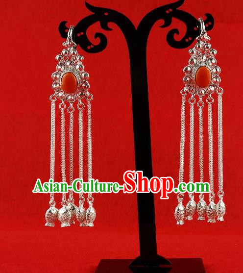 Chinese Traditional Zang Nationality Handmade Sliver Tassel Red Earrings, China Tibetan Ethnic Eardrop for Women