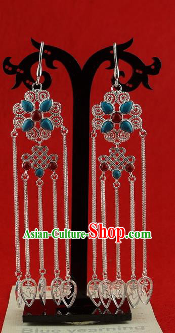 Chinese Traditional Zang Nationality Handmade Sliver Earrings, China Tibetan Ethnic Eardrop for Women