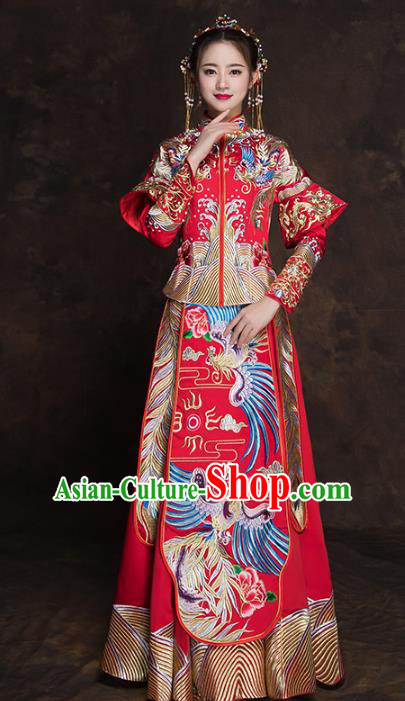 Chinese Traditional Wedding Costume Ancient Bride Embroidered Xiuhe Suit Red Full Dress for Women