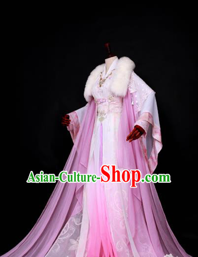 Chinese Ancient Princess Pink Hanfu Dress Han Dynasty Palace Lady Embroidered Costume for Women