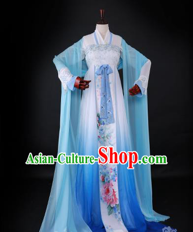 Chinese Ancient Princess Hanfu Dress Han Dynasty Palace Lady Embroidered Blue Costume for Women