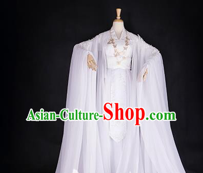 Chinese Ancient Cosplay Princess White Hanfu Dress Han Dynasty Palace Lady Embroidered Costume for Women